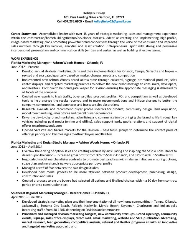 Kelley Finley Sales and Marketing Resume
