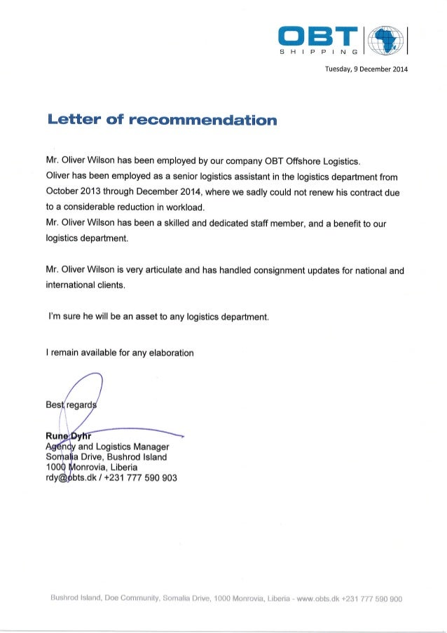 Letter Of Recommendation From Obt Shipping Liberia LimitedPdf