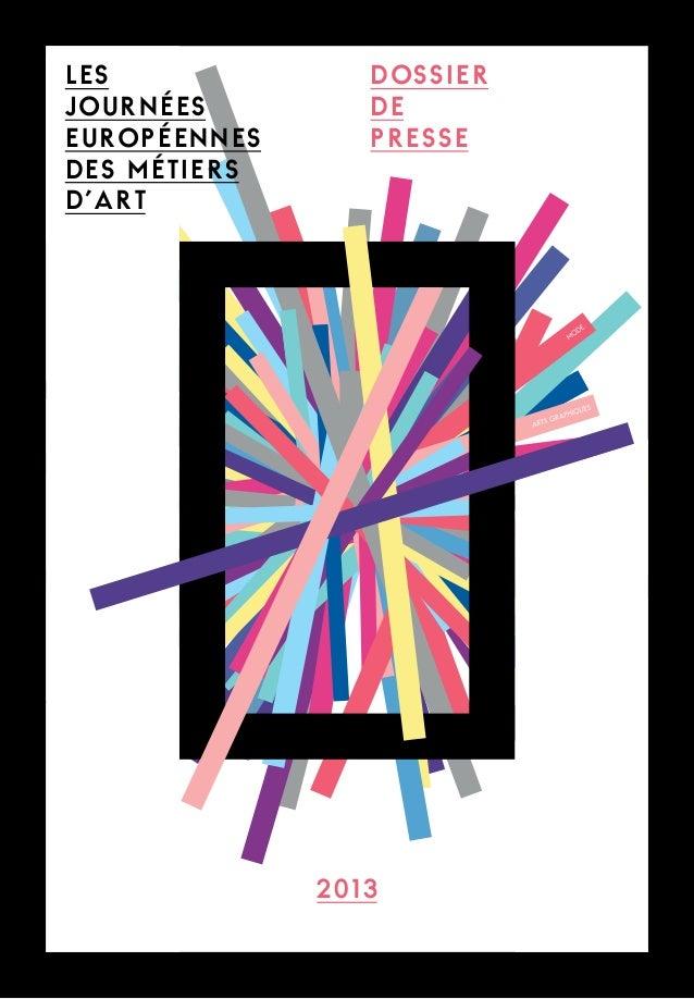 DOSSIER DE PRESSE 2013 les journées européennes des métiers d'art