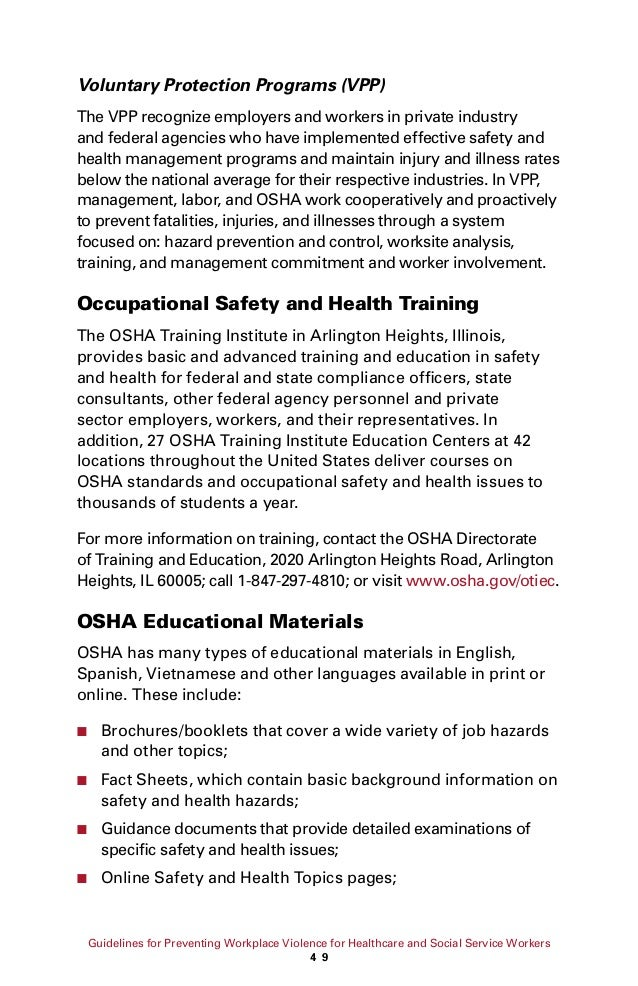 Brief background of osha