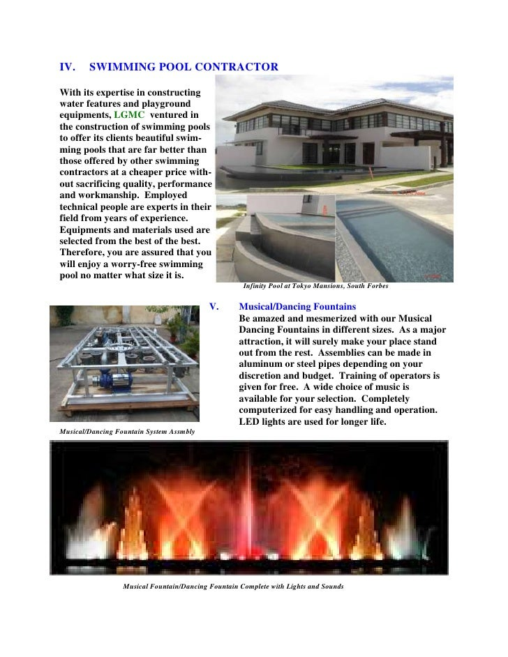 IV. SWIMMING POOL CONTRACTOR<br />With its expertise in constructing <br />water features and playground <br />equipments,...