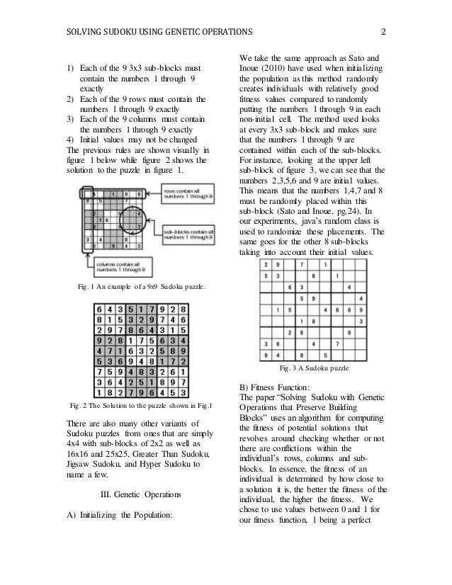 Solving Sudoku Using Genetic Operations and Sub