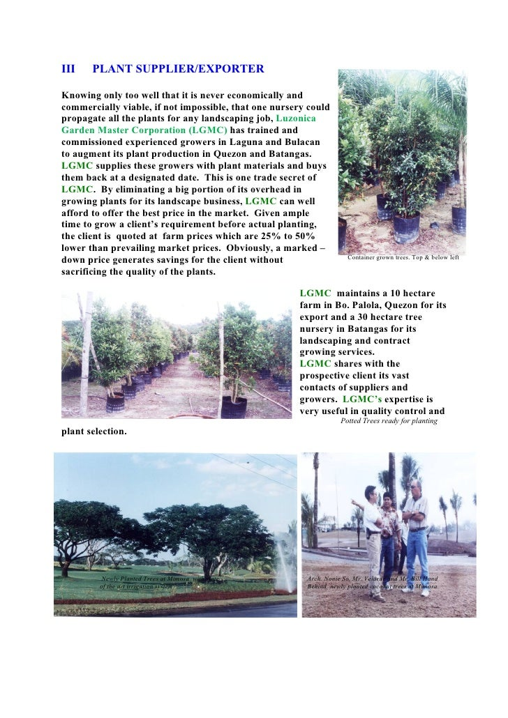 III    PLANT SUPPLIER/EXPORTER  Knowing only too well that it is never economically and commercially viable, if not imposs...