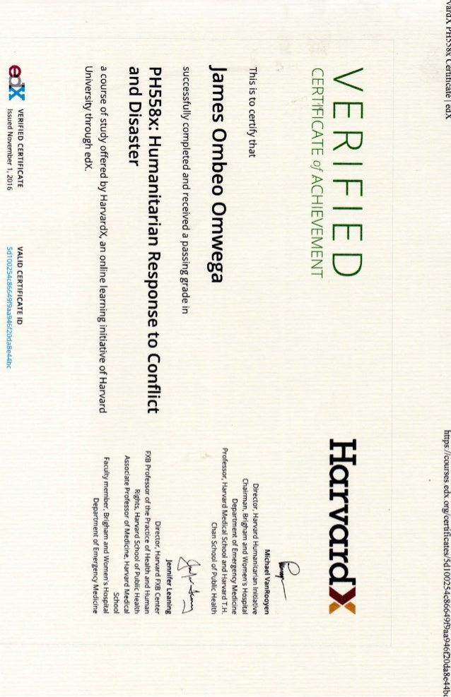 Certificate Of Achievement From Harvard University 2016