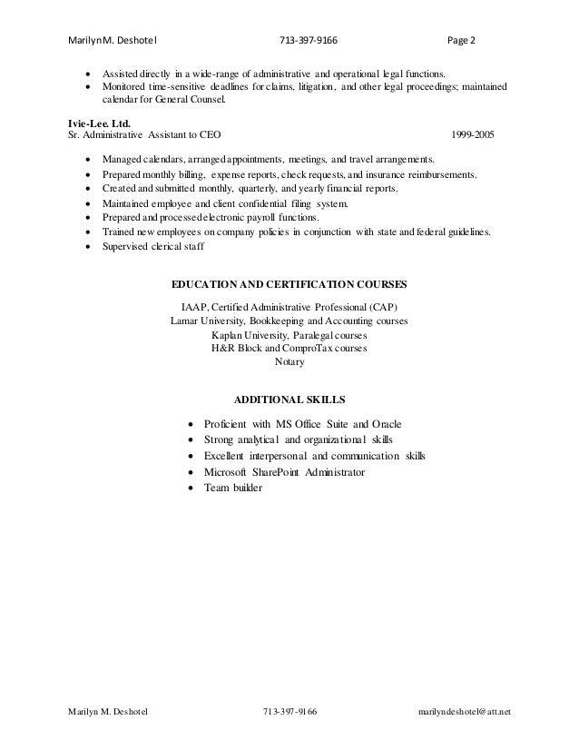Administrative Professional Resume For Marilyn M Deshotel