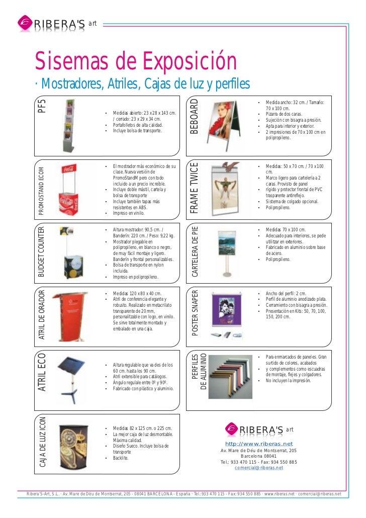 RIBERAS art   S AREBIR   SAREBIR    Sisemas de Exposición    · Mostradores, Atriles, Cajas de luz y perfiles              ...