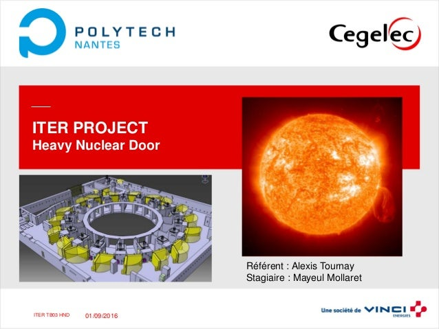 ITER TB03 HNDITER TB03 HND ITER PROJECT Heavy Nuclear Door Référent : Alexis Tournay Stagiaire : Mayeul Mollaret Presentat...