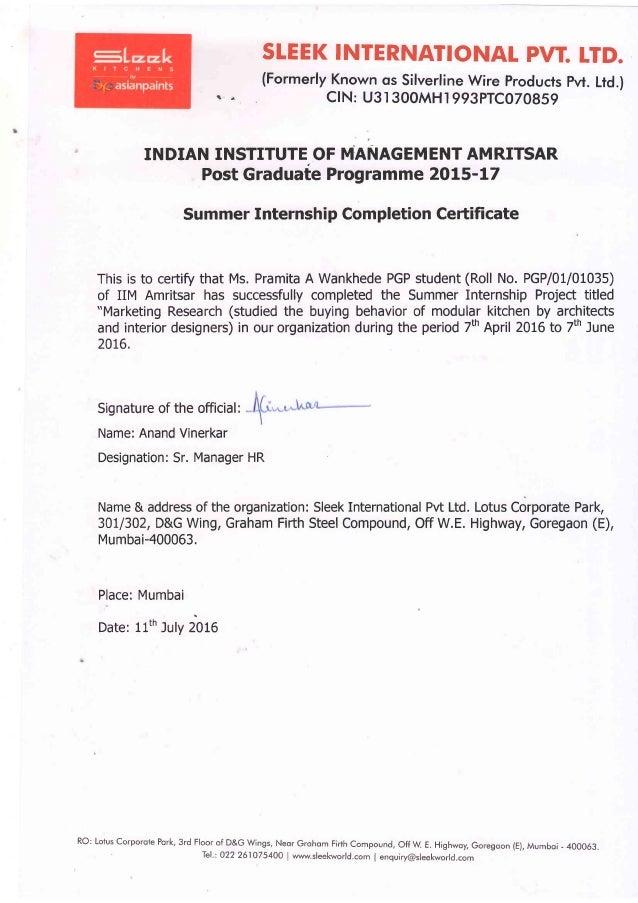 Pramita Internship Certificate Pdf