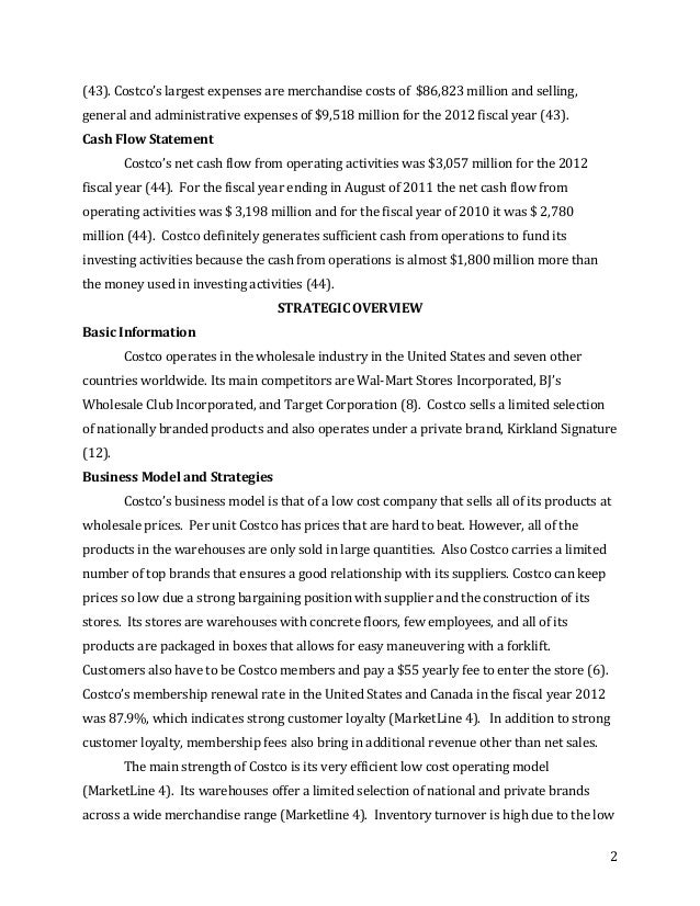Costco Wholesale Corp. Financial Statement Analysis (A) Harvard Case Solution & Analysis