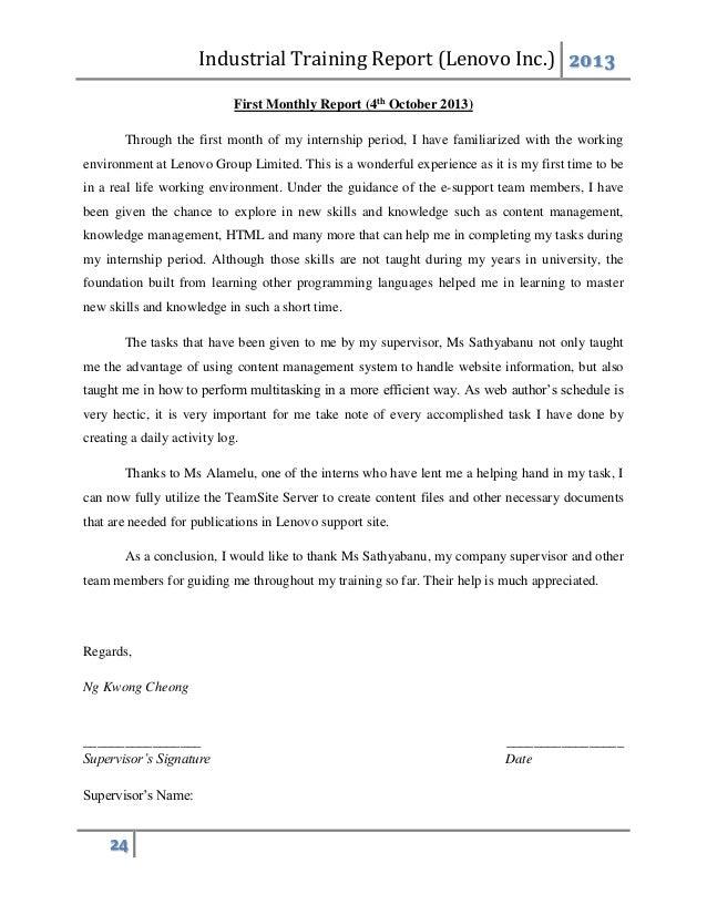 industrial training report lenovo rh slideshare net