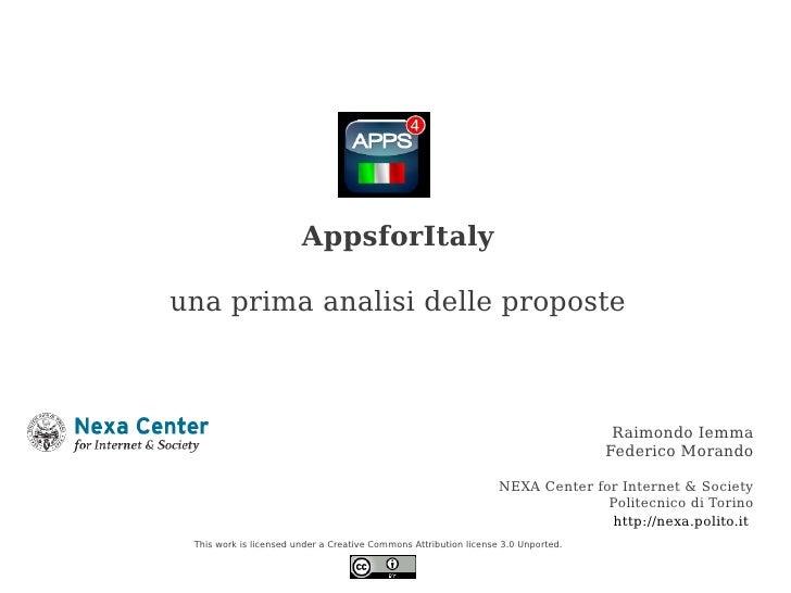 AppsforItalyuna prima analisi delle proposte                                                                              ...