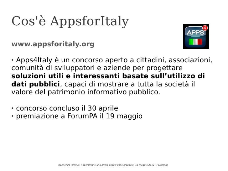 Apps4Italy - una prima analisi delle proposte Slide 2