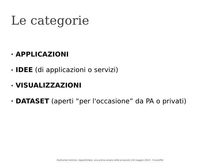 Apps4Italy - una prima analisi delle proposte Slide 3