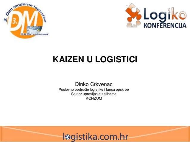 KAIZEN U LOGISTICI Dinko Crkvenac Poslovno područje logistike i lanca opskrbe Sektor upravljanja zalihama KONZUM