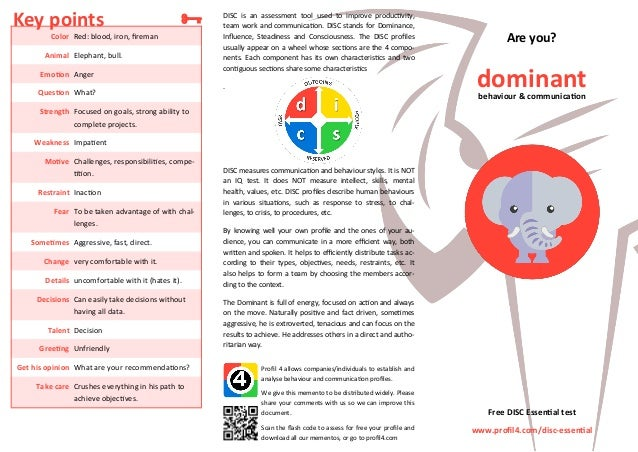 DISC is an assessment tool used to improve productivity, team work and communication. DISC stands for Dominance, Influence...