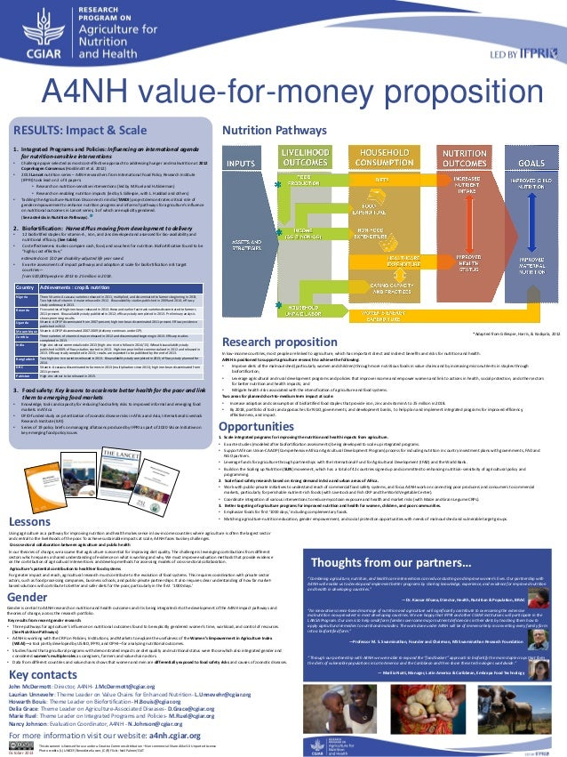 A4NH value-for-money proposition RESULTS: Impact & Scale  Nutrition Pathways  1. Integrated Programs and Policies: Influen...