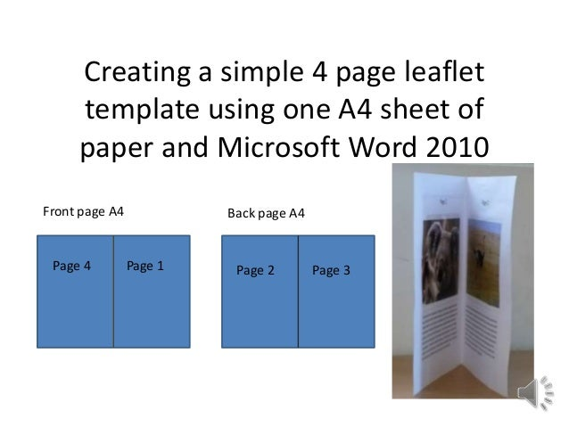 How to make simple 4 page leaflet in Word 2010