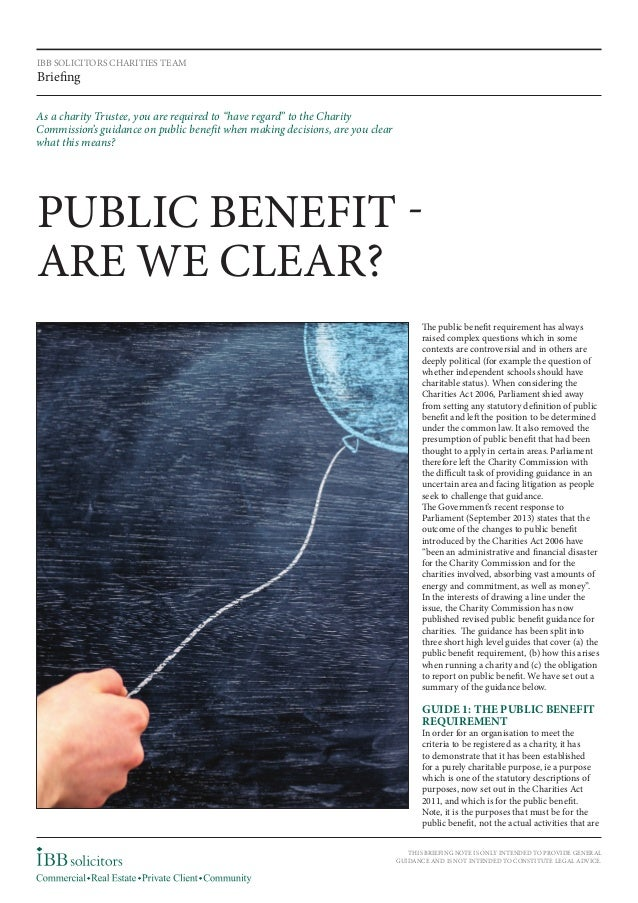 Charity Registration Requirements : Is There a Public Benefit?