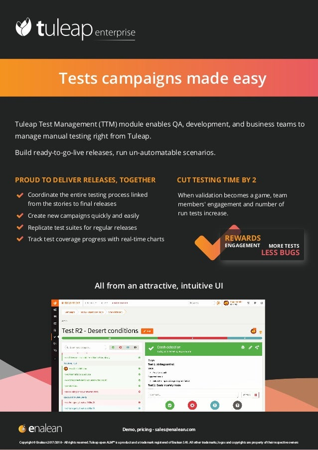 Tests campaigns made easy  Tuleap Test Management (TTM) module enables QA, development, and business teams to manage manu...