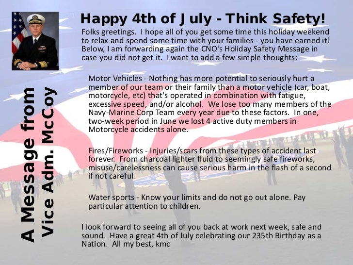 A 4th of july message 2011 happy 4th of july think safety folks greetings m4hsunfo Image collections
