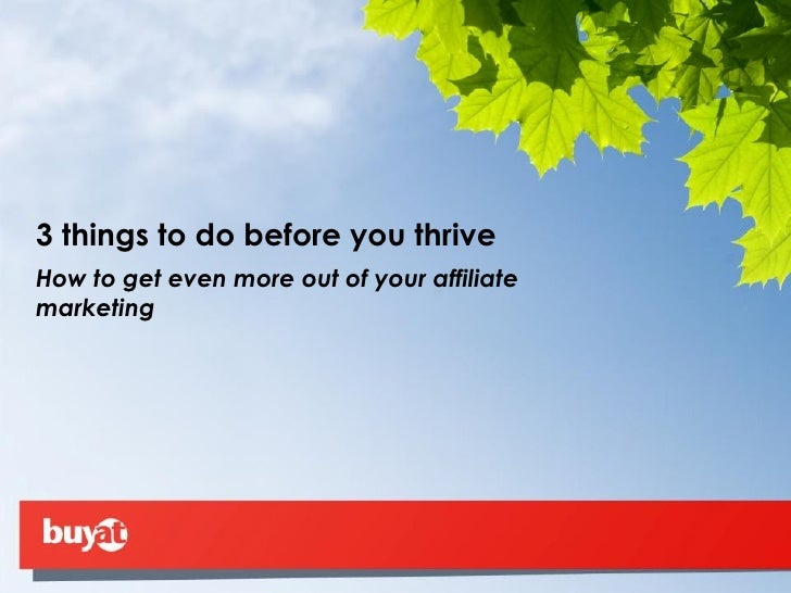 3 things to do before you thrive How to get even more out of your affiliate marketing
