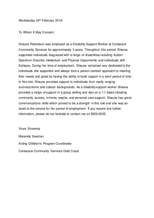 Cover Letter For Disability Support Worker. Shauna 39 S Reference Letter . Cover  Letter For Disability Support Worker