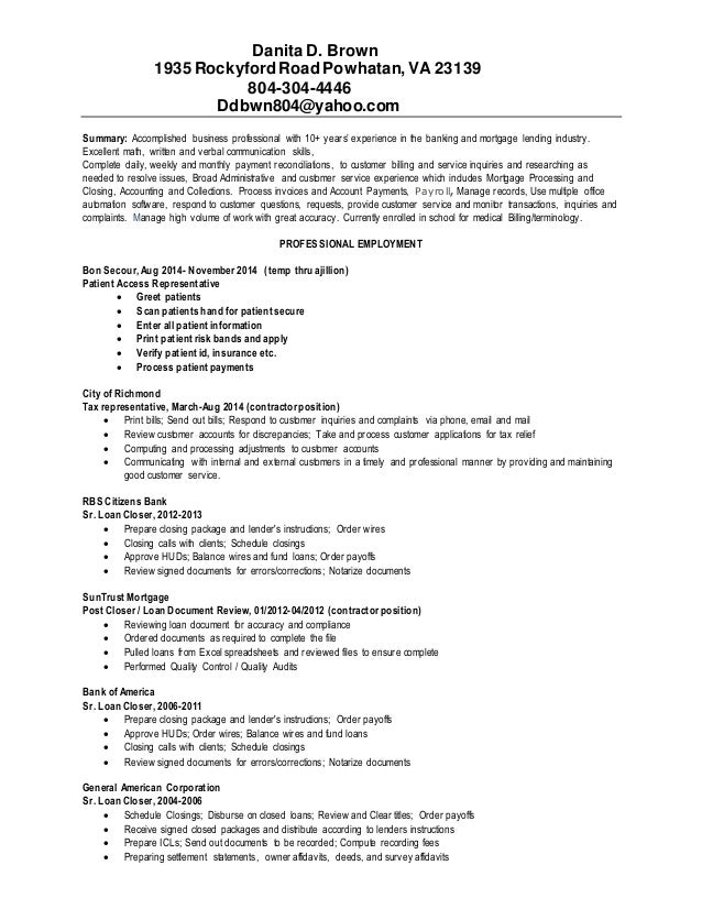 Danita Brown prorfessional resume 2014
