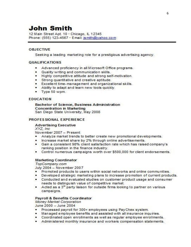resumes for promotion within same company