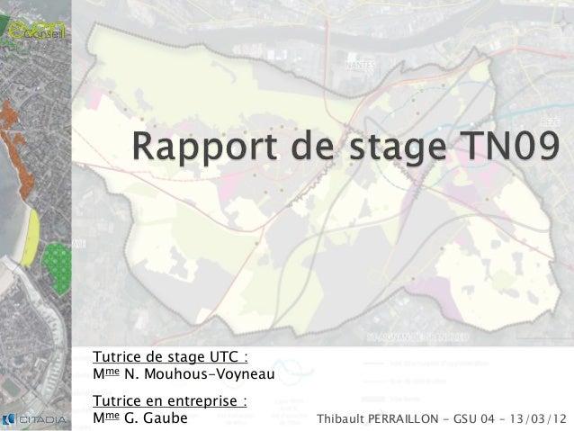 Thibault PERRAILLON - GSU 04 – 13/03/12 Tutrice de stage UTC : Mme N. Mouhous-Voyneau Tutrice en entreprise : Mme G. Gaube