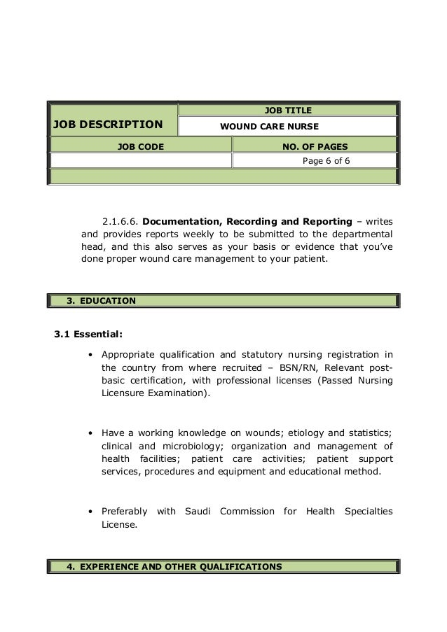 JOB DESCRIPTION TITLE WOUND CARE NURSE