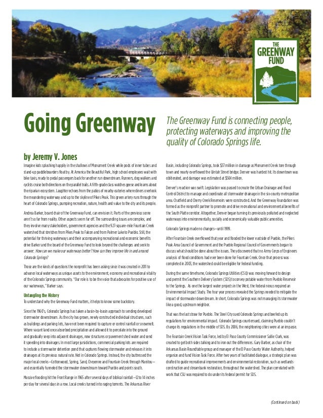 Going Greenway by Jeremy V. Jones The Greenway Fund is connecting people, protecting waterways and improving the quality o...