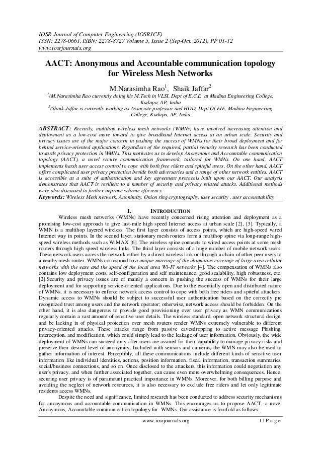 IOSR Journal of Computer Engineering (IOSRJCE) ISSN: 2278-0661, ISBN: 2278-8727 Volume 5, Issue 2 (Sep-Oct. 2012), PP 01-1...