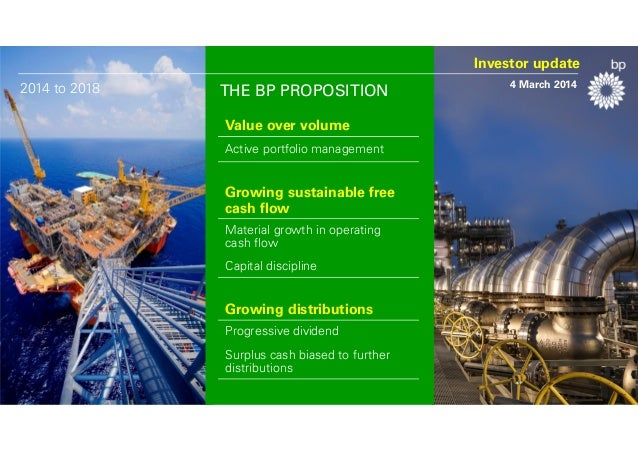 Investor update 2014 to 2018  THE BP PROPOSITION Value over volume Active portfolio management  Growing sustainable free c...