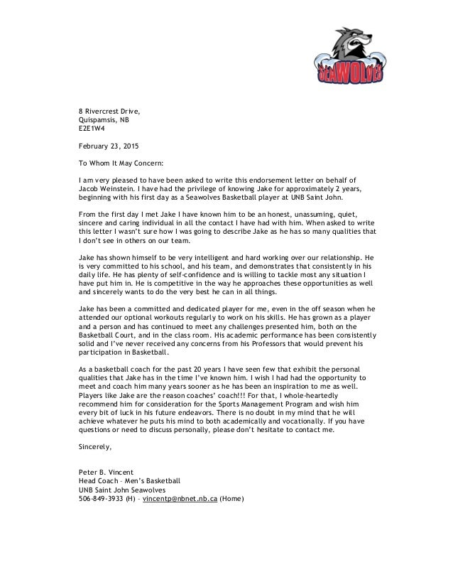 reference letter for jacob weinstein