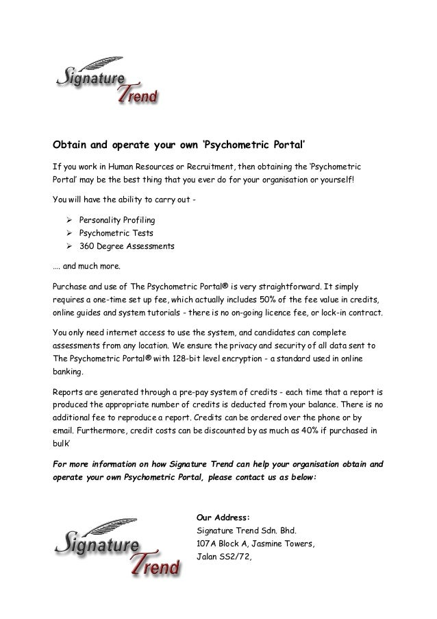 Obtain & Operate Your Own Psychometric Portal - Signature Trend