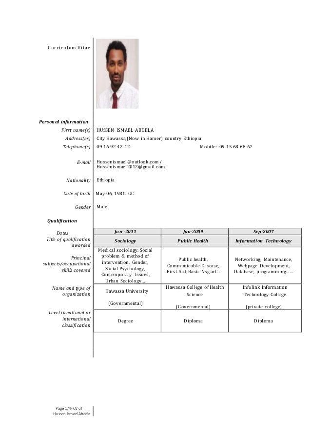 cv master degree