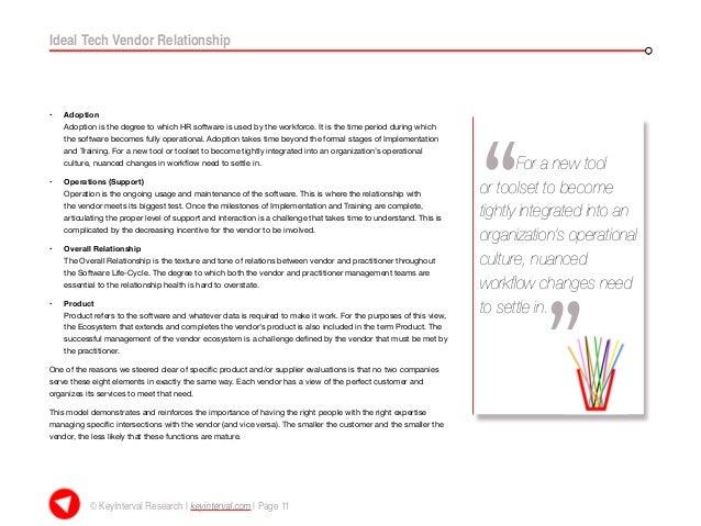 Ideal Vendor Relationship Report