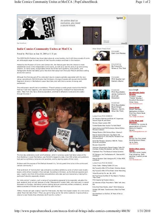 Pop Culture Shock article, MoCCA Festival coverage