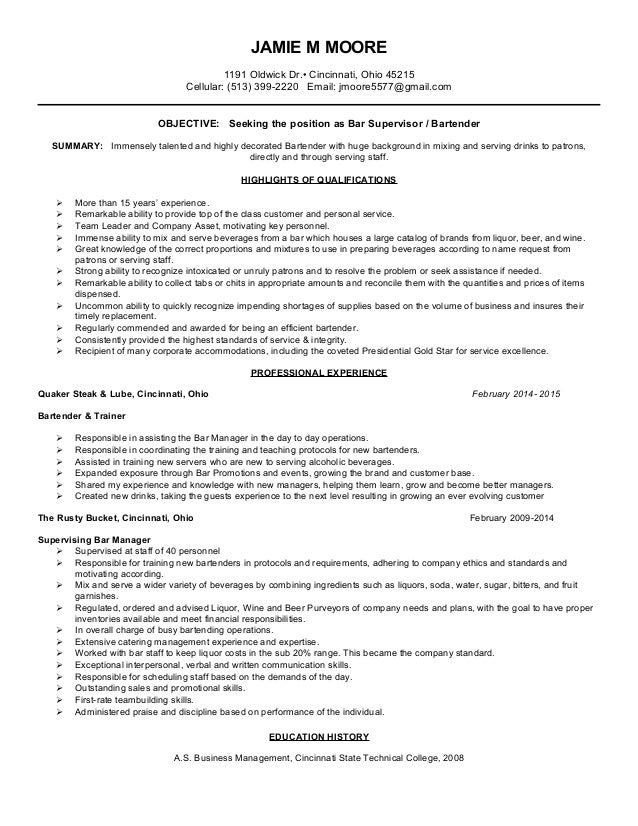 bartender resume for four seasons orlando