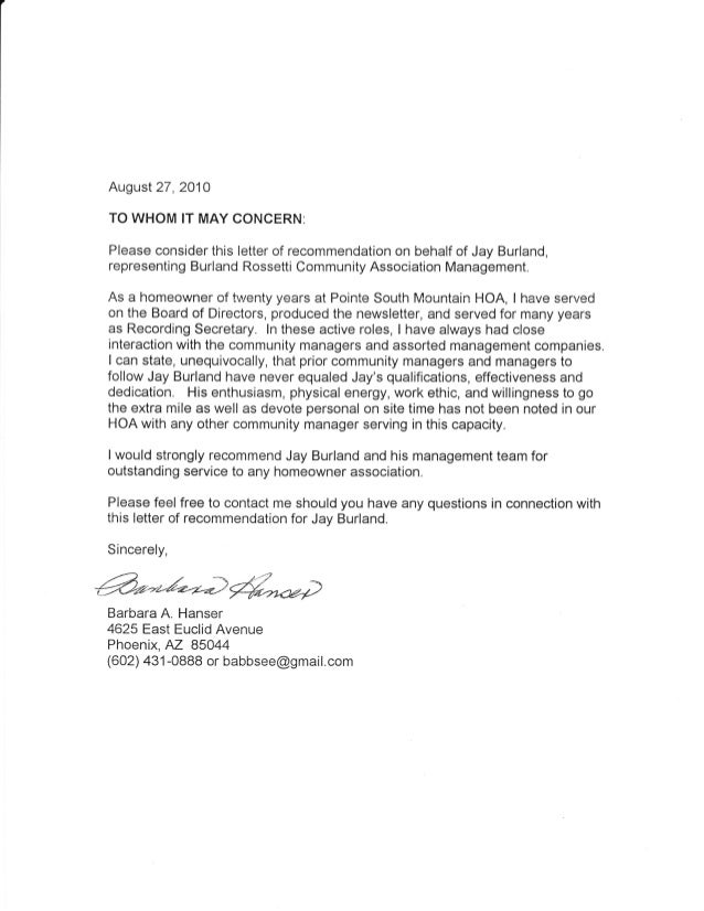 Property Management Letters of Recommendations