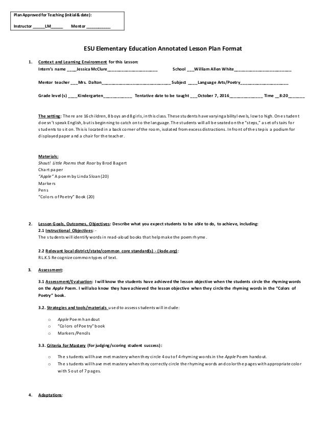 ESU Elementary Education Annotated Lesson Plan Format 1. Context and Learning Environment for this Lesson: Intern's name _...
