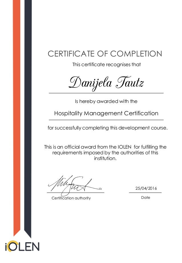 Danijela Tautz Hospitality Management Certification