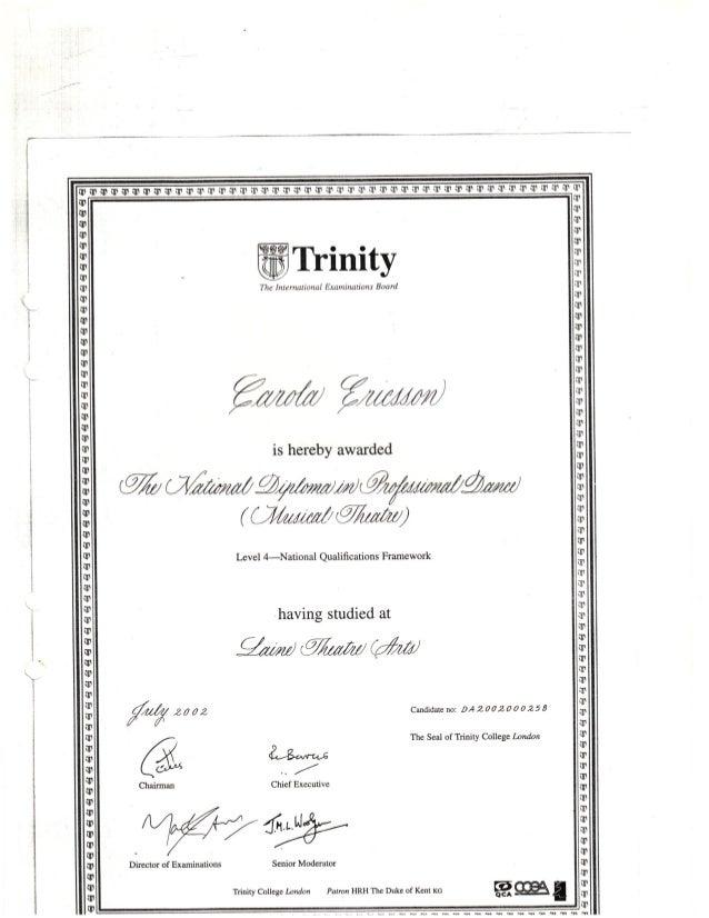 theatre arts diploma  laine theatre arts diploma 2002