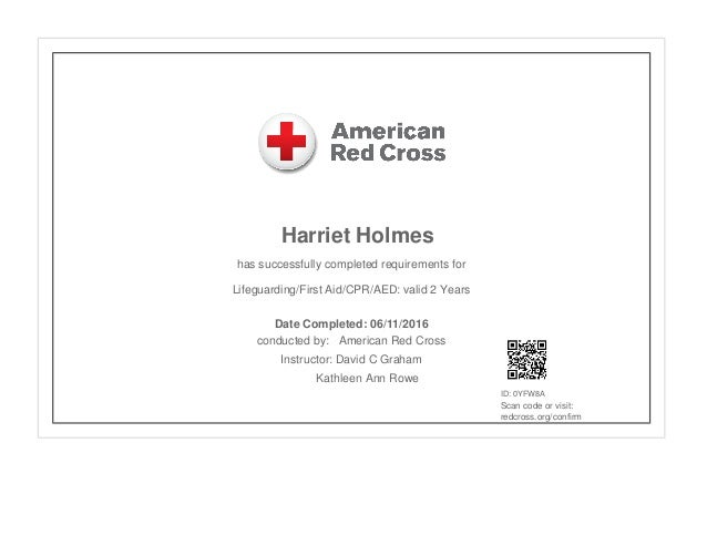 american red cross lifeguarding certificate