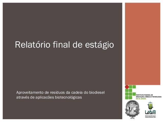 Relatório final de estágio Aproveitamento de resíduos da cadeia do biodiesel através de aplicacões biotecnológicas