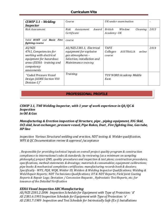 inspector  electromechanical engineer resume rev 01