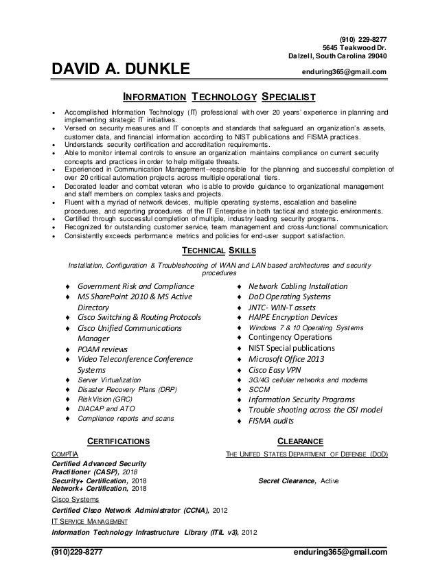 (910)229-8277 enduring365@gmail.com (910) 229-8277 5645 Teakwood Dr. Dalzell, South Carolina 29040 DAVID A. DUNKLE endurin...