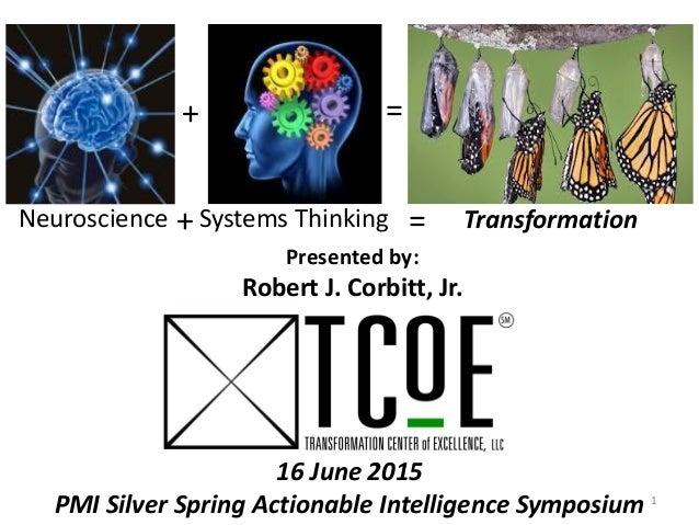 Neuroscience Systems Thinking Transformation+ = Presented by: Robert J. Corbitt, Jr. 16 June 2015 PMI Silver Spring Action...