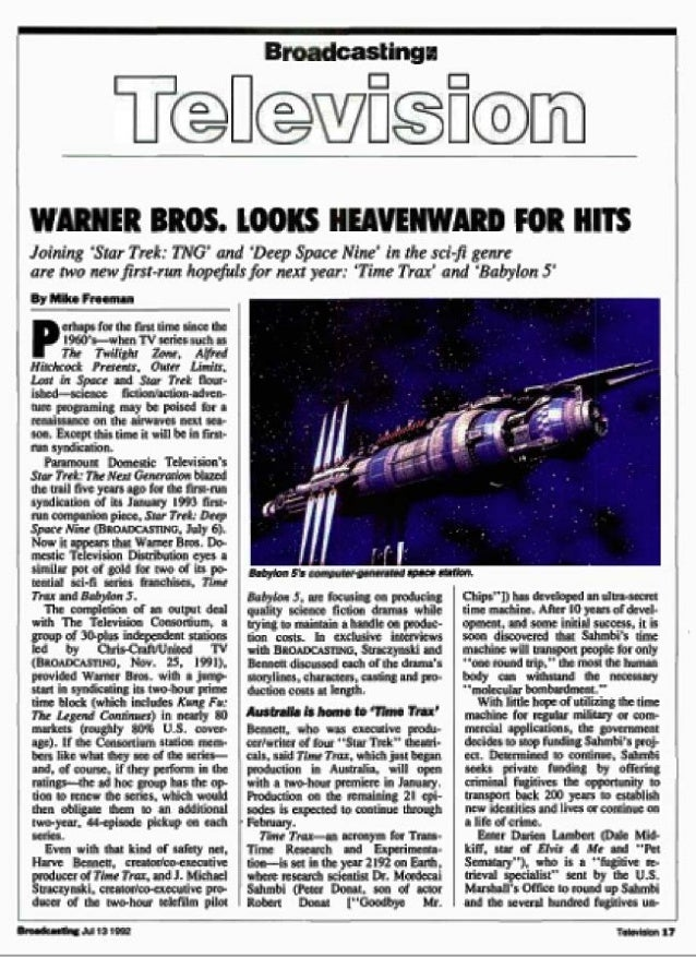 Babylon 5 & Time Trax_Warner Bros._exclusive_071592