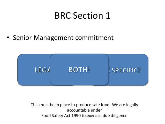 Senior Management Commitment To Food Safety